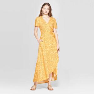 Floral Print Short Sleeve V-Neck Wrap Dress